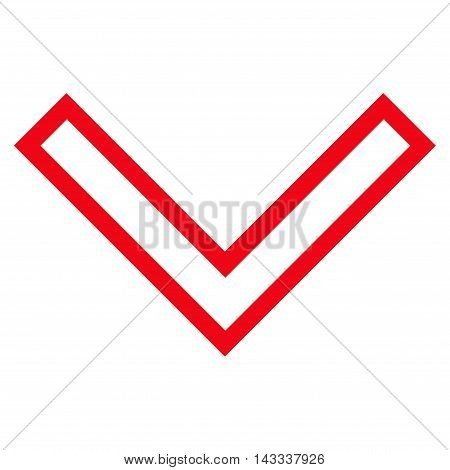 Arrowhead Down vector icon. Style is thin line icon symbol, red color, white background.