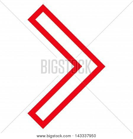 Arrowhead Right vector icon. Style is outline icon symbol, red color, white background.