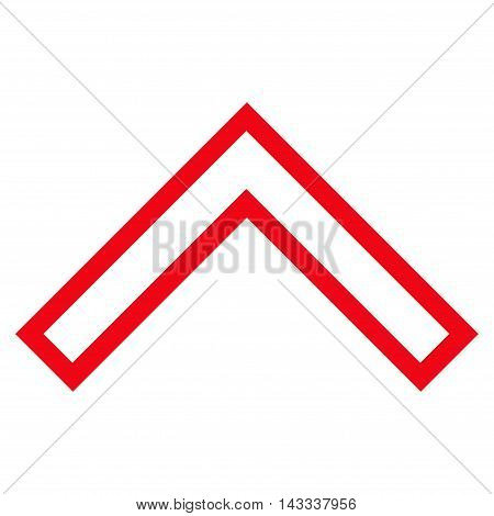Arrowhead Up vector icon. Style is contour icon symbol, red color, white background.