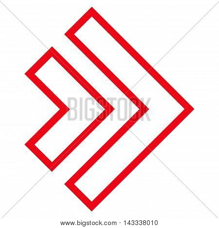 Direction Right vector icon. Style is thin line icon symbol, red color, white background.