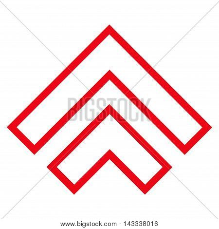 Direction Up vector icon. Style is stroke icon symbol, red color, white background.