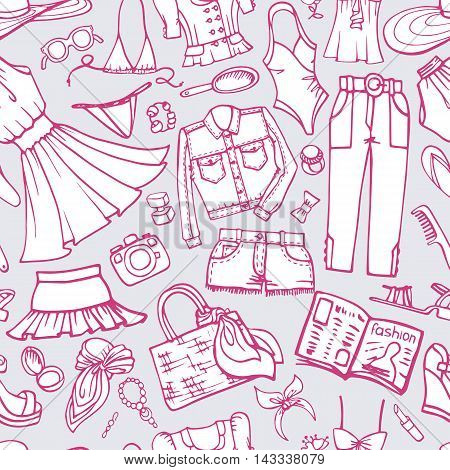 Fashion illustration, seamless pattern set.Summer party.Doodles hand drawn women  wear clothes, accessories, dresses.Sketches fabric, wallpaper, backdrop and background.Vacation Vector