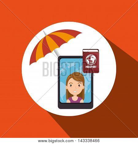 umbrella woman camera technology vector illustration  design