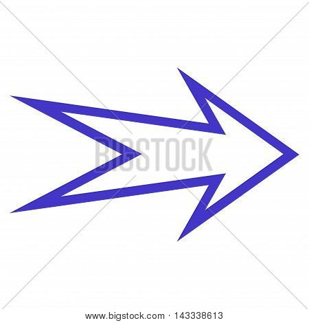 Arrow Right vector icon. Style is outline icon symbol, violet color, white background.