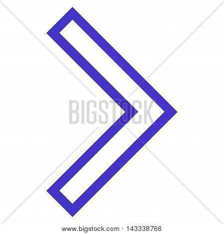 Arrowhead Right vector icon. Style is contour icon symbol, violet color, white background.