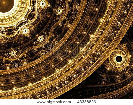 elegant ornament - abstract computer-generated image. Classic fractal art: elegant pattern of curves and beads.