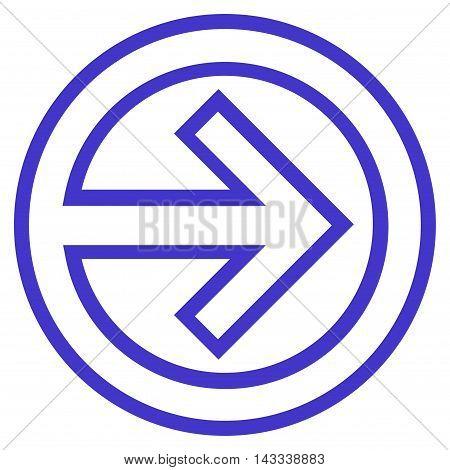 Import vector icon. Style is thin line icon symbol, violet color, white background.