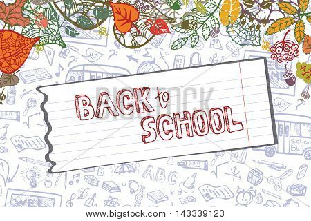 Back to School Supplies Sketchy pattern , autumn leaves, paper.Doodles  lettering with  Hand Drawn pattern.Vector Illustration  Background