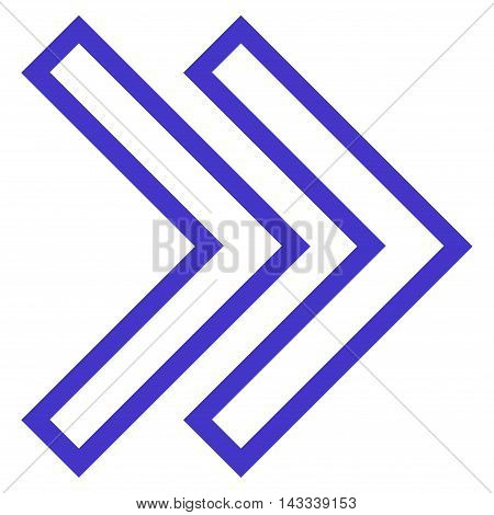 Shift Right vector icon. Style is contour icon symbol, violet color, white background.