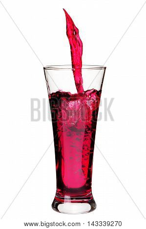 Isolated Glass With Splashing Refreshing A Red Color Drink  On W
