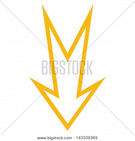 Arrow Down vector icon. Style is outline icon symbol, yellow color, white background.