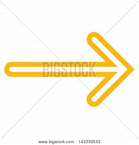 Arrow Right vector icon. Style is outline icon symbol, yellow color, white background.