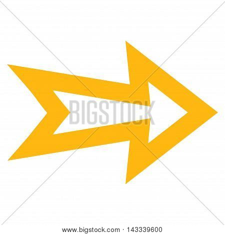Arrow Right vector icon. Style is thin line icon symbol, yellow color, white background.
