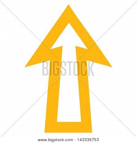 Arrow Up vector icon. Style is stroke icon symbol, yellow color, white background.