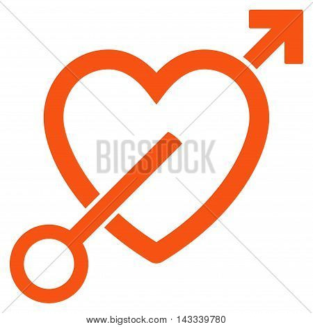 Love Arrow icon. Vector style is flat iconic symbol with rounded angles, orange color, white background.