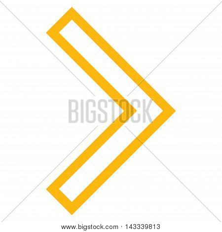 Arrowhead Right vector icon. Style is thin line icon symbol, yellow color, white background.