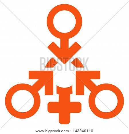 Triple Penetration Sex icon. Vector style is flat iconic symbol with rounded angles, orange color, white background.