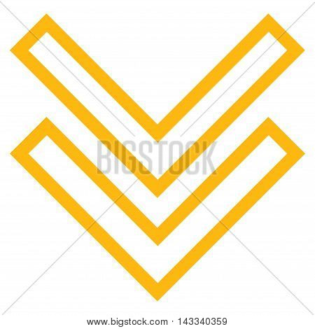 Shift Down vector icon. Style is contour icon symbol, yellow color, white background.