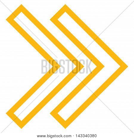 Shift Right vector icon. Style is contour icon symbol, yellow color, white background.