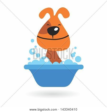 Vector Adorable Cartoon Grooming in Bathtub, isolated on white background