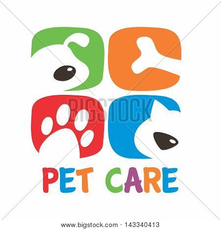 Vector Stylish Minimal Colorful Pet Care Logo Template