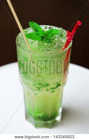 Fresh Mojito Cocktail On Glass