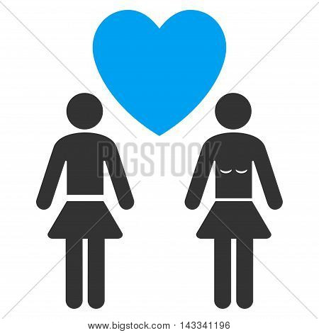 Lesbi Love Pair icon. Vector style is bicolor flat iconic symbol with rounded angles, blue and gray colors, white background.