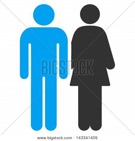 Married Couple icon. Vector style is bicolor flat iconic symbol with rounded angles, blue and gray colors, white background.