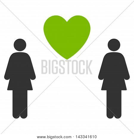 Lesbi Love Pair icon. Vector style is bicolor flat iconic symbol with rounded angles, eco green and gray colors, white background.