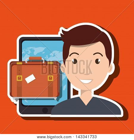 man smartphone travel vector illustration  eps 10 design