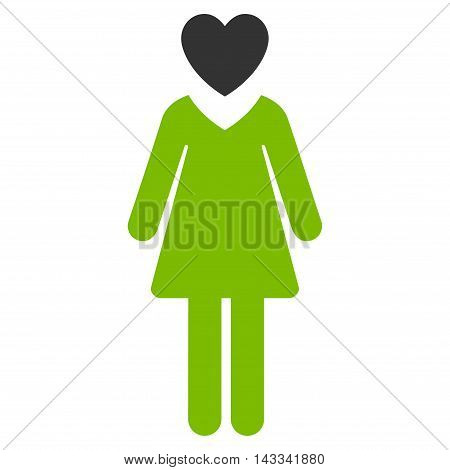 Passion Woman icon. Vector style is bicolor flat iconic symbol with rounded angles, eco green and gray colors, white background.