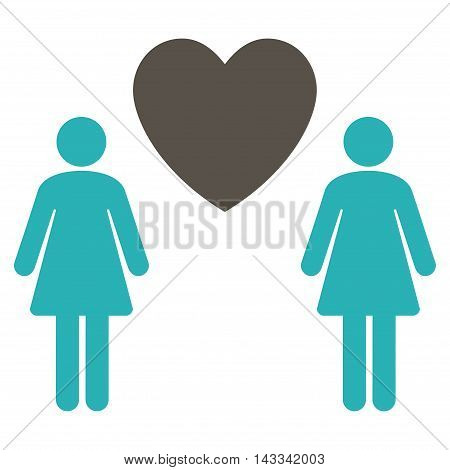 Lesbi Love Pair icon. Vector style is bicolor flat iconic symbol with rounded angles, grey and cyan colors, white background.