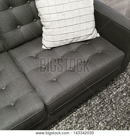 Sofa rug and cushion in the shades of gray. Modern interior design.