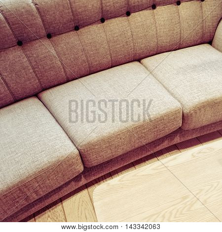 Fancy comfortable sofa and coffee table. Modern style furniture.