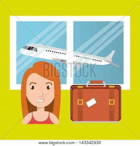 woman suitcase airplane window vector illustration design