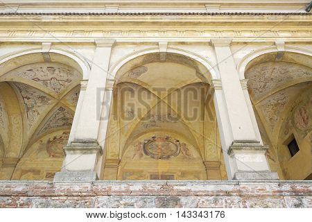 MANTUA, ITALY - JULY, 23, 2016: fresco on a wall of George castle in Mantua, Italy