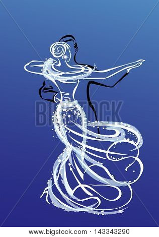 A couple dancing waltz on a special occasion, graphics outline on a blue background