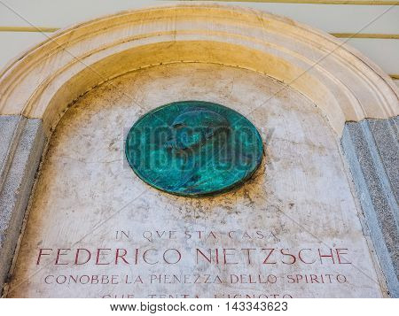 Nietzsche Memorial Plaque In Turin (hdr)