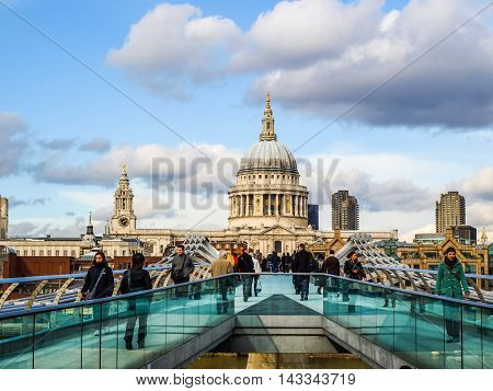 Millennium Bridge In London Uk (hdr)