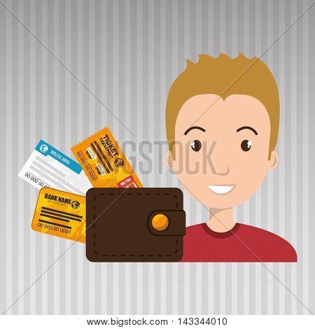man ticket travel wallet vector illustration design