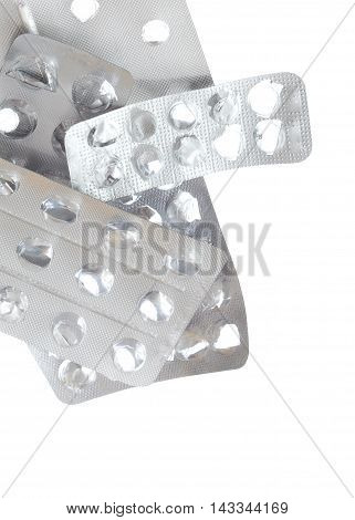 Empty Packing From Tablets Isolated On White Background