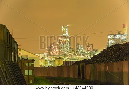 Material obtained by photographing a night view of the factory area.