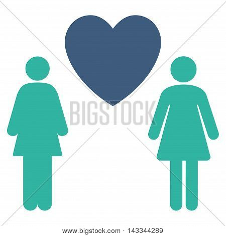 Lesbi Love Pair icon. Vector style is bicolor flat iconic symbol with rounded angles, cobalt and cyan colors, white background.