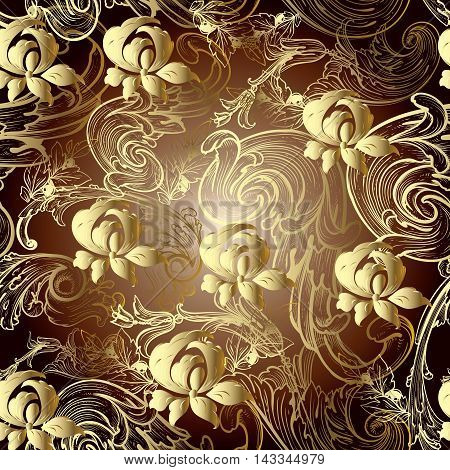 Baroque floral vector seamless pattern background with vintage beautiful volumetric yellow gold flowers and vintage antique ornaments. Luxury illustration and royal 3d decor elements with shadow and highlights. Endless elegant  texture.