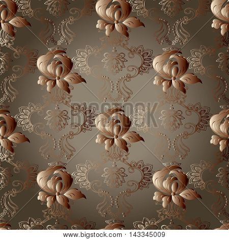 Floral vector seamless pattern background with vintage beautiful volumetric 3d flowers and vintage ornaments. Luxury illustration and royal 3d decor elements with shadow and highlights. Endless elegant  texture.