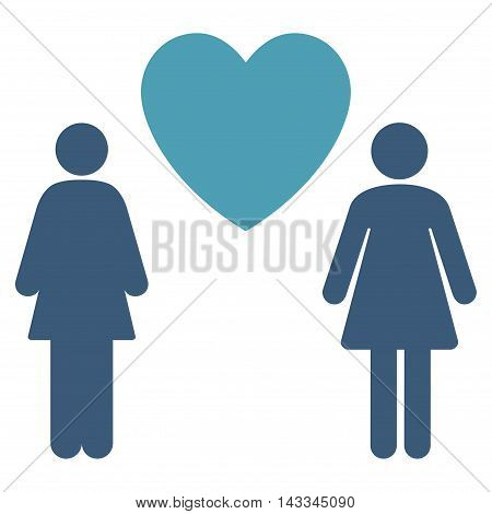 Lesbi Love Pair icon. Vector style is bicolor flat iconic symbol with rounded angles, cyan and blue colors, white background.