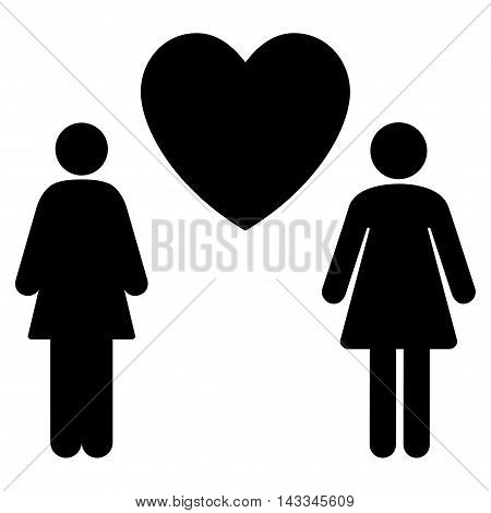 Lesbi Love Pair icon. Vector style is flat iconic symbol with rounded angles, black color, white background.