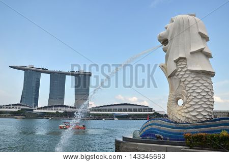 Merlion Fountain In Singapore