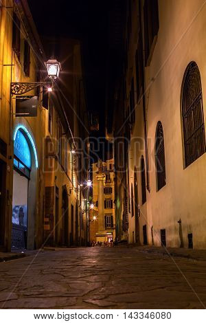 Alley In Florence, Italy, At Night
