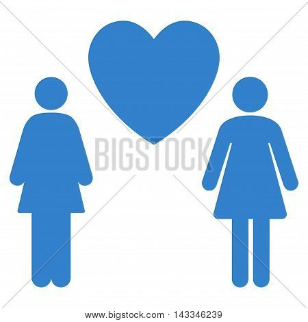 Lesbi Love Pair icon. Vector style is flat iconic symbol with rounded angles, cobalt color, white background.